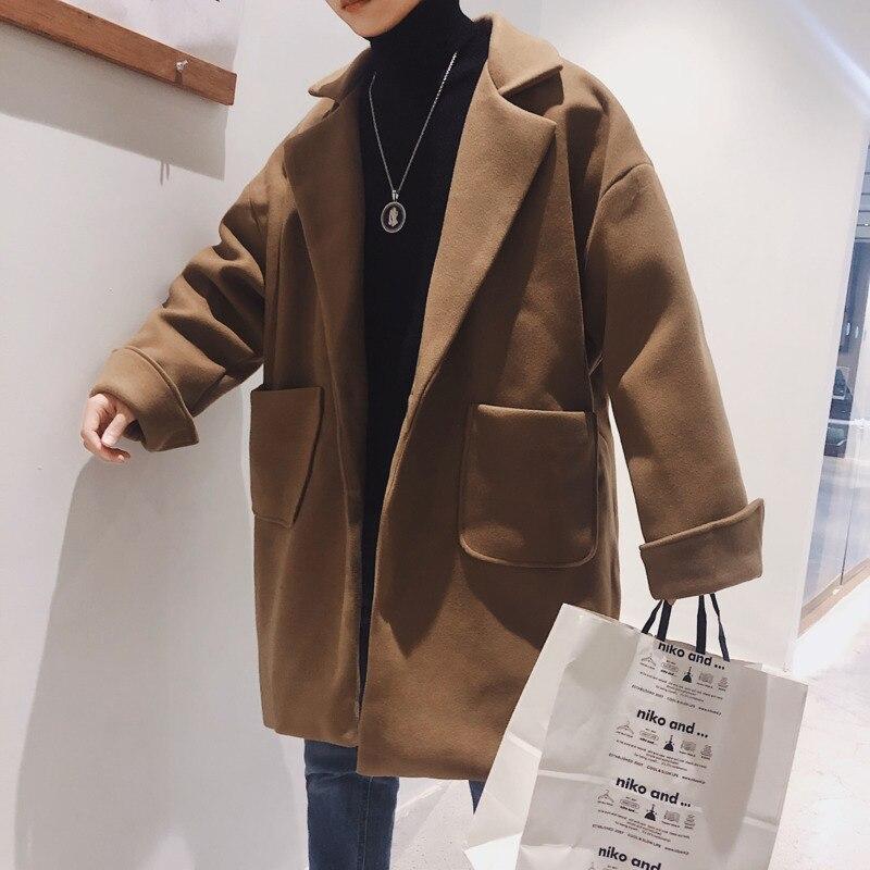 Winter Thick Woolen Coat Men's Fashion Casual Loose Woolen Jacket Men Streetwear British Wind Woolen Coat Mens Overcoat M-2XL