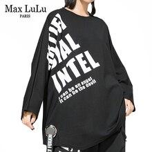 Max Lulu Thời Trang Phong Cách Hàn Quốc 2019 Bộ Quần Áo Thu Đông Nữ Cao Cấp TEE Nữ In Hình Rời Kawaii T Áo Sơ Mi Thun Plus kích thước