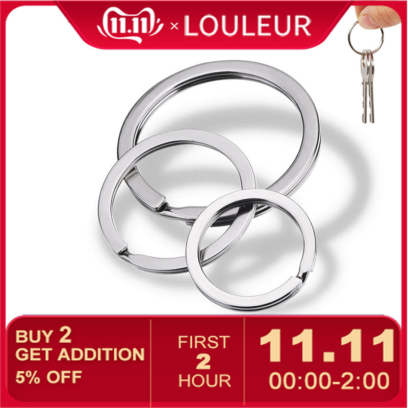 Louleur 20 Pcs/lot Stainless Steel Key Chain Key Ring Flat Line Key Ring Keyrings Keychain Jewelry Making Wholesale