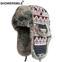 SHOWERSMILE Russian Ushanka Hats Women Bomber with Earflap Soviet Female Winter Snow Christmas Ladies Warm Fur Trapper Hat