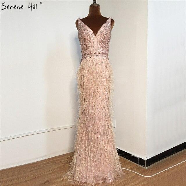 Ruhigen Hill Perlen V ausschnitt Luxus Abendkleider 2020 Ärmellose Federn Meerjungfrau Formale Kleid DLA70440