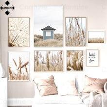 Nordic trigo flor arte da parede fotos bege pinturas decoração para casa interior moderno preto letras citações interior do quarto