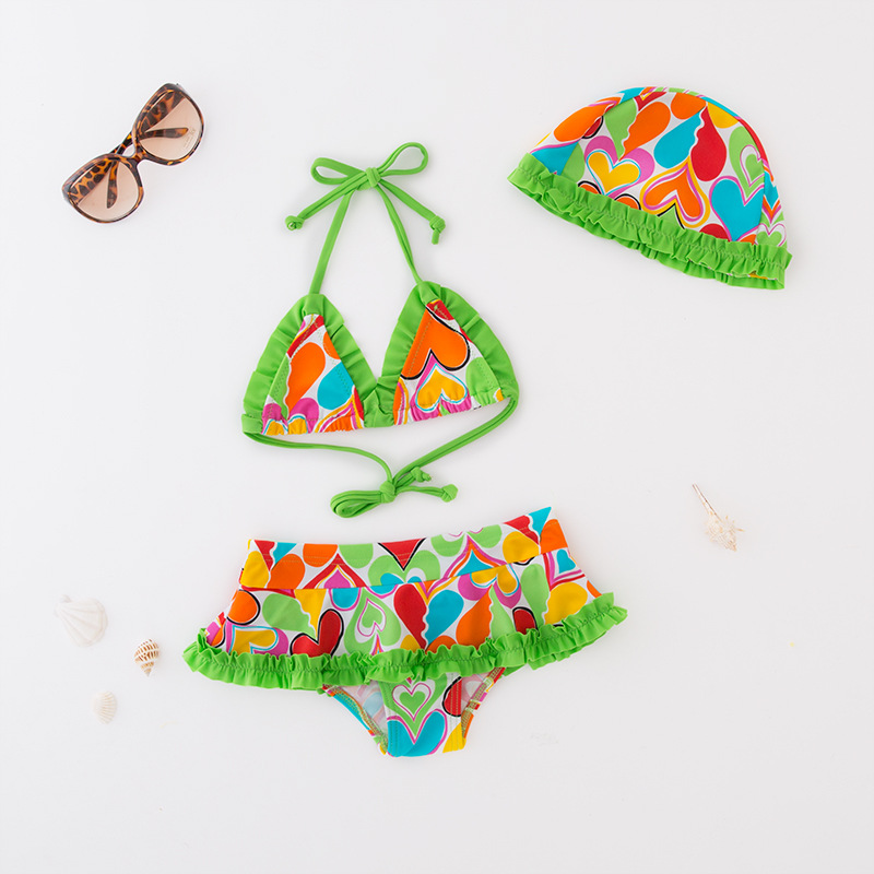KID'S Swimwear Girls' Two-piece Swimsuit Colorful Heart Hooded Bikini Spa Resort Tour Bathing Suit Beachwear