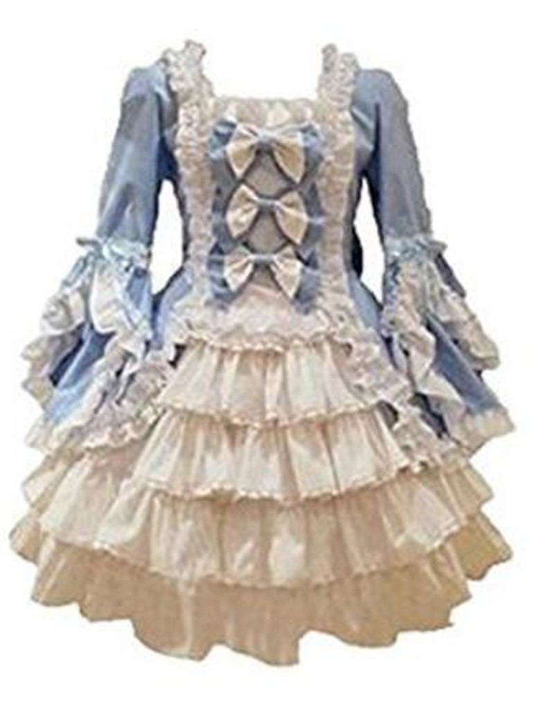 Lolita Bow Dress Japanese sweet lolita dress vintage stand puff sleeve high waist cute printing victorian dress kawaii girl goth