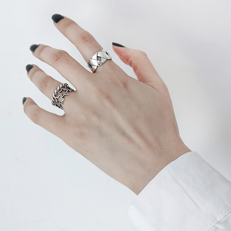 Bohemian Ethnic Silver Color Big Cross Chain Rings for Women Bridal Wedding Vintage Open Finger Rings Christmas Gifts 6