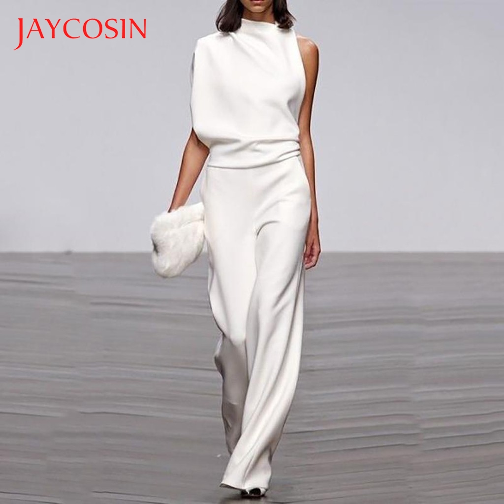 Jaycosin Overalls for Women Elegant Plain Wide Leg One Shoulder Long Playsuit rompers womens jumpsuit macacao feminino playsuit