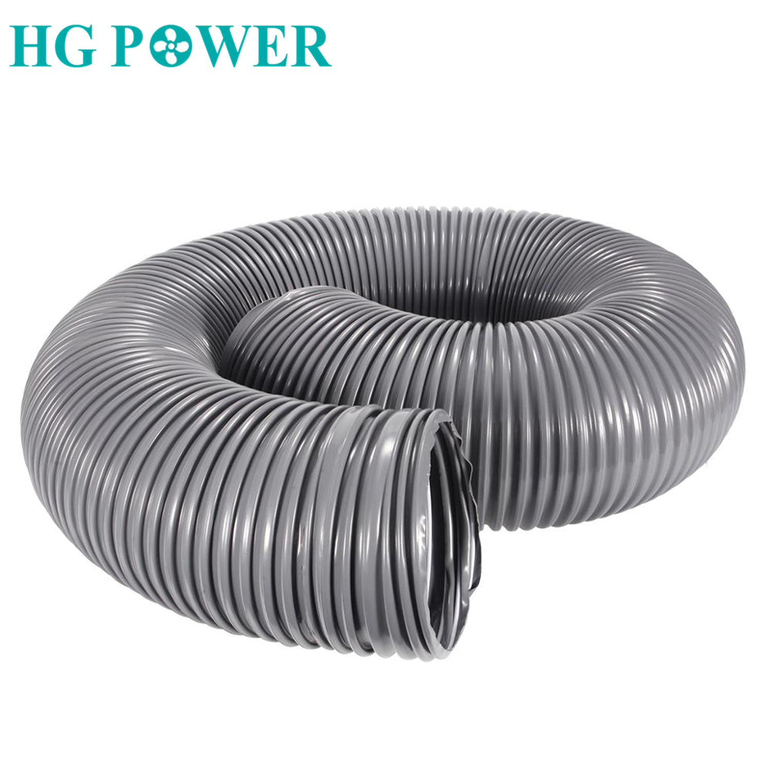 2M PVC Flexible Hose Pipe Steel Wire Hose Ventilation Ducting Telescopic Ventilation Pipe Dust Ventilator Hose Exhaust Pipe Gray