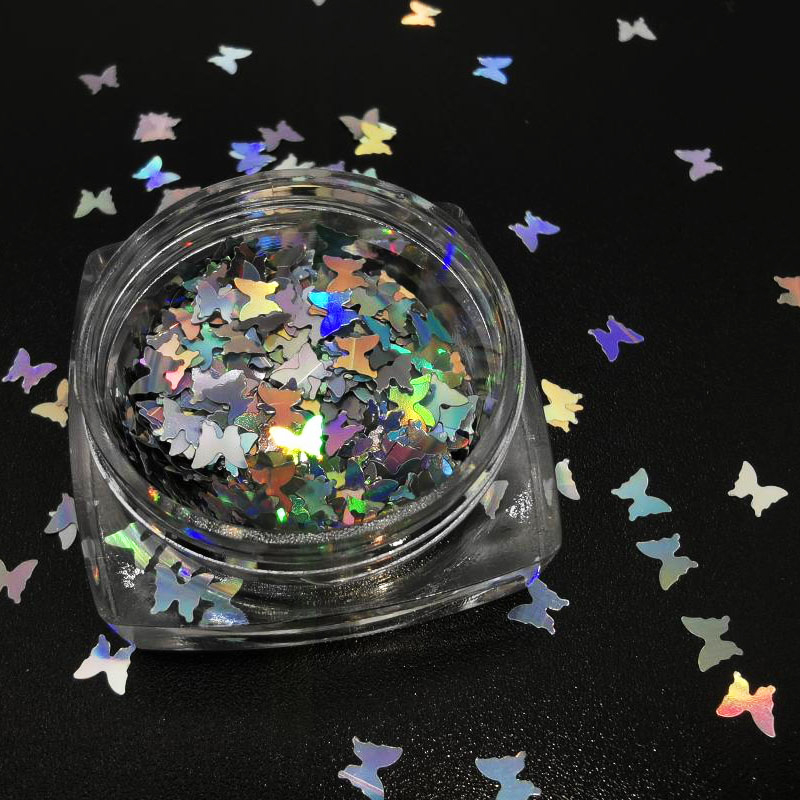 1 Box Holographic Butterfly Shape Nail Glitter Flakes Sparkly 3D Colorful Sequins Spangles Polish Manicure Nails Art Decoration