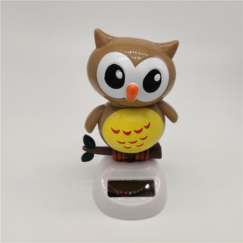 1Pcs Solar Powered Cute Owl Birds Shaking Head Car Ornament Solar Toys Classic Swing Doll Auto Dashboard Accessories Toys 5