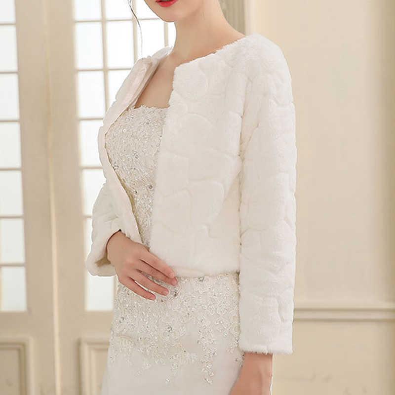 3/4 de manga larga de piel sintética de la noche de la boda de las mujeres abrigo de piel blanca envuelve la chaqueta de las damas de honor de la moda cubrir para 45-55KG