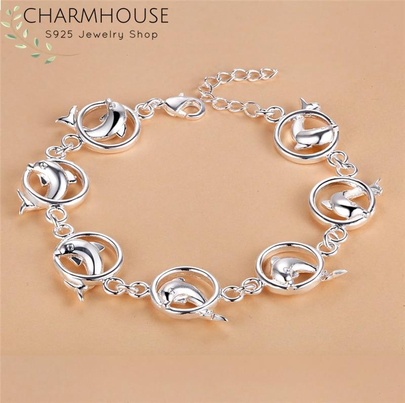 Женский браслет с цепочкой Charmhouse, из серебра 925 пробы, вечерние ювелирные изделия