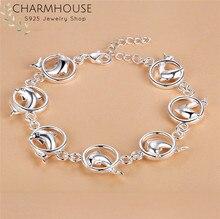 Charmhouse 925 prata pulseiras para mulheres círculo golfinho link corrente pulseira pulseira pulseira moda jóias presentes de festa