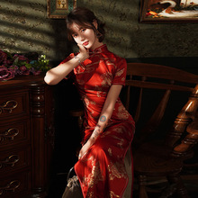 Spring red Long Cheongsam Novelty Chinese style Dress Womens Satin Qipao Slim Party Dresses Handmade Button Vestido Size S-4XL