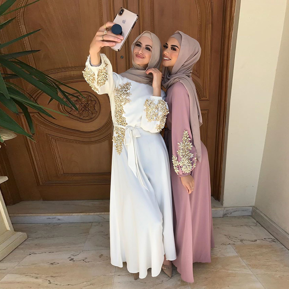 Kaftan Dubai Abaya Turkey Muslim Women Hijab Dress Islam Caftan Marocain Dresses Vestidos Eid Mubarak European Clothing Musulman(China)