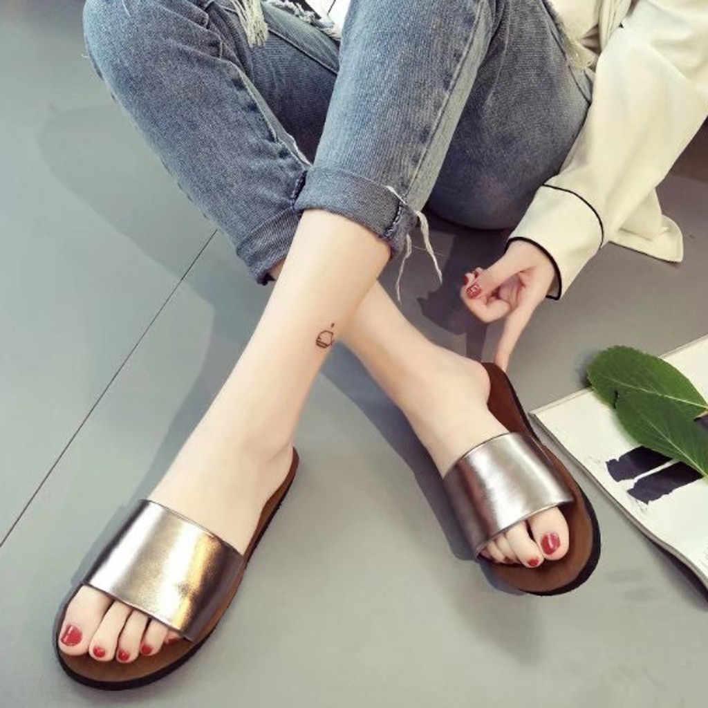 Sagace mulher verão sapatos antiderrapante praia plana chinelos senhoras slides de praia macio slides sobre chinelos femininos ao ar livre mais tamanho