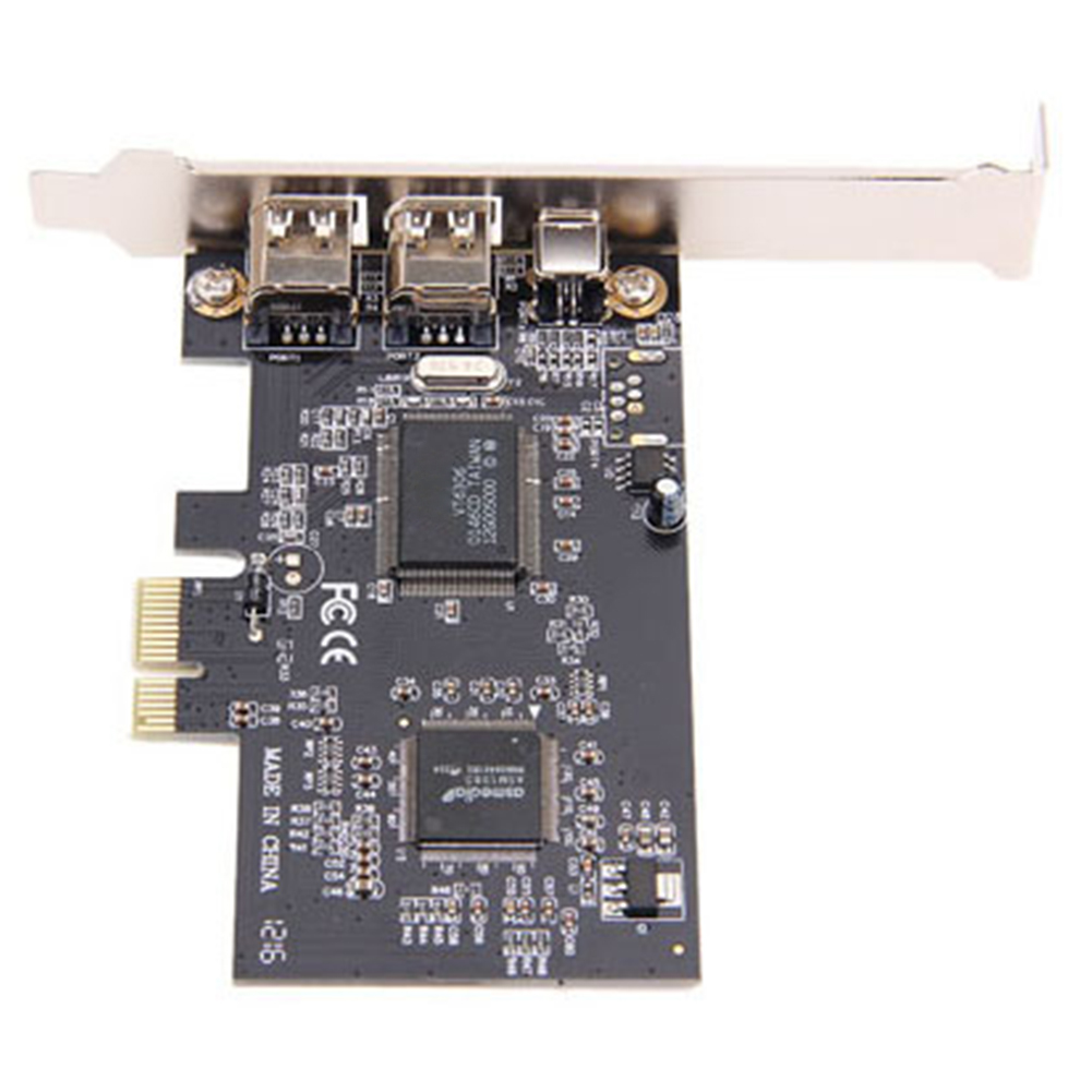 <font><b>1394A</b></font> For <font><b>PCI</b></font>-E <font><b>PCI</b></font> Express Firewire 3 Port Adapter Expansion Card External Controller For Desktop PC And Connection image