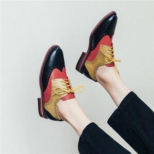 Image 3 - ผู้หญิงรองเท้าหนังOxfordรองเท้าผู้หญิงรองเท้าผ้าใบLady Brogues Vintage Casualรองเท้ารองเท้าผู้หญิง 2020 สีเขียวสีน้ำตาล