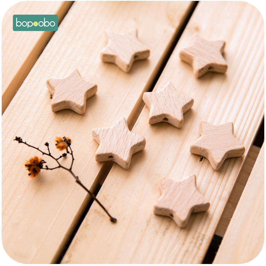 Bopoobo 100pc Beech Wooden Star Beads Teether Chewable Star Shape Food Grade Material Beech Beads BPA Free Wooden Teething Bead