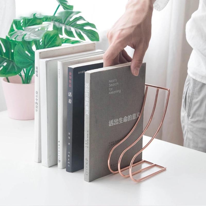 Creative Metal S Shape Book Stand Stationary Anti-skid Bookends Shelf Holder Book Stand Drop Shipping Office Desktop Organizer