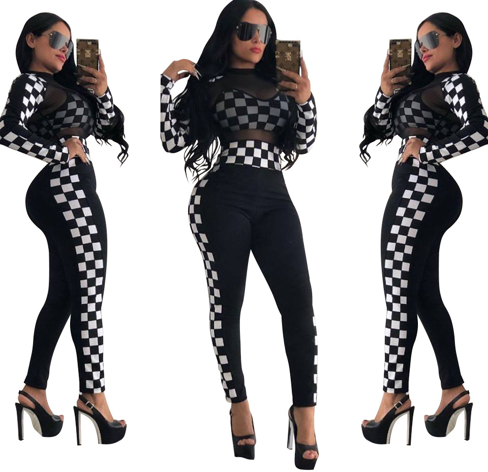 2018 Nesm Hot Selling Autumn And Winter New Products Women's Fashion Leisure Suit Europe And America Black And White Plaid Tulle