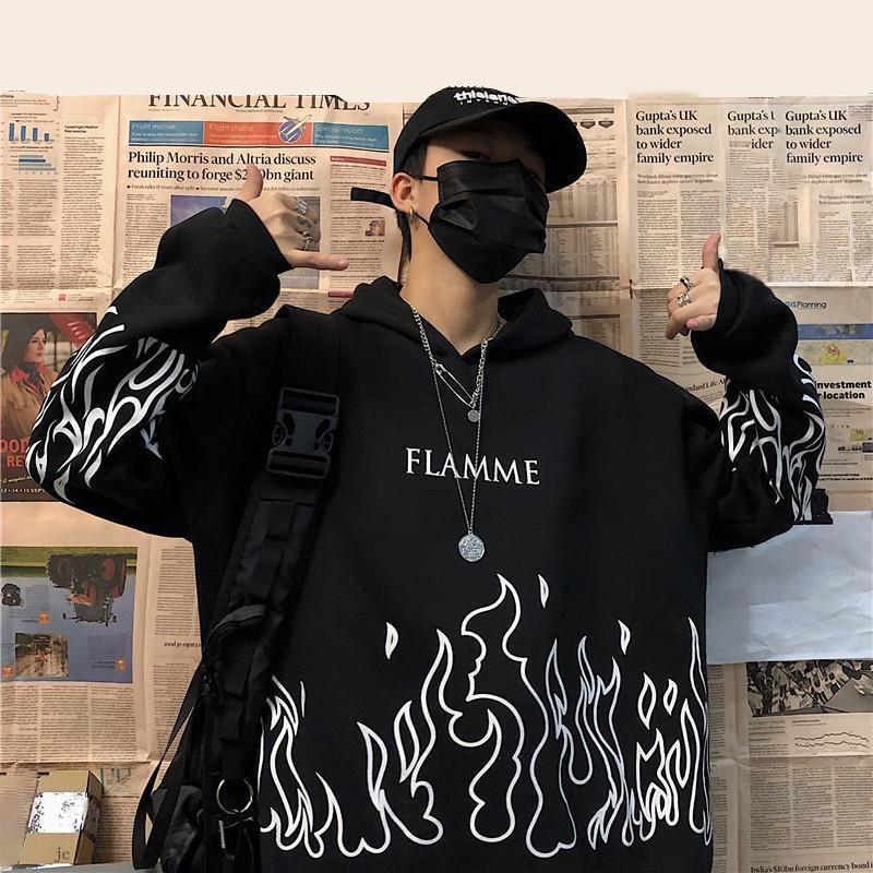 Уличная Женская пламя принт пуловер с капюшоном негабаритных Harajuku стиль с капюшоном размера плюс зимняя Толстовка Корейская уличная Топ