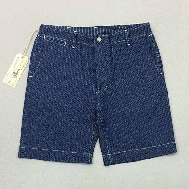 BOB DONG Wabash Denim Shorts For Men Vintage Indigo Workwear Knee Length Sashiko