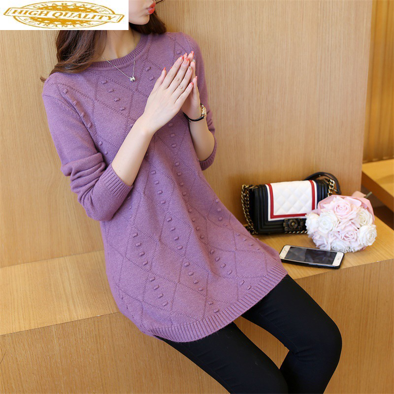 2020 Knitted Sweater Women Pullover Korean Long Ladies Sweaters And Pullovers Autumn Winter Top Pull Femme 6590# KJ2378