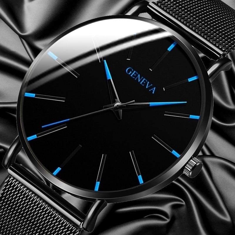 Geneva Mens Minimalist Ultra Thin Stainless Steel Mesh Belt Watch Luxury Men's Watch Business Casual Quartz Watch Reloj Hombre
