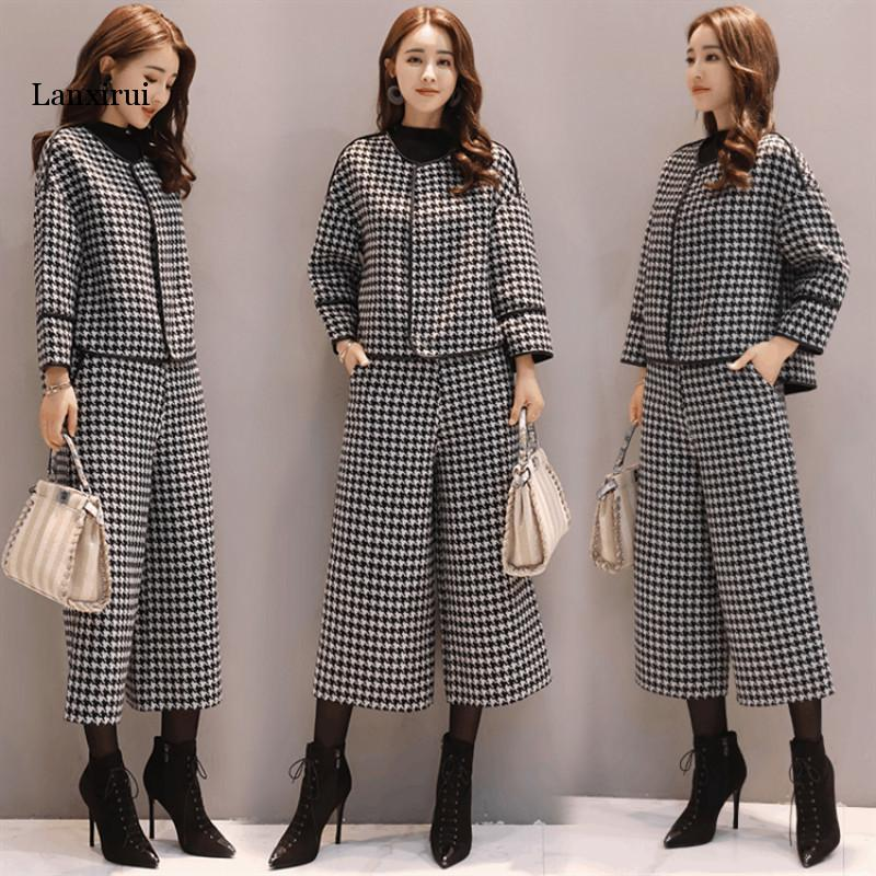 Suit Female Fashion Houndstooth Woolen Coat Short Wide Leg Pants Two-piece Female Casual Fashion Female New Female Autumn