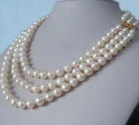 Three Strand natural 9 8 mm akoya white pearl necklace 171819 14K gold clasp