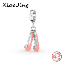 New arrival girl beads diy lovely pink shoes enamel charms authentic 925 sterling silver charm bracelet jewelry accessories 2017