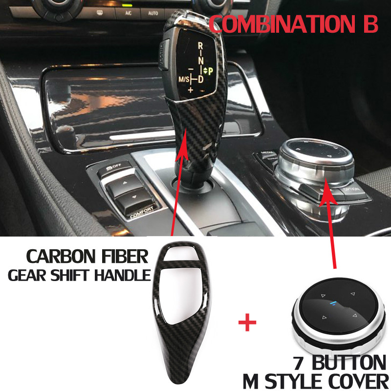 For BMW Car Multimedia Button M Cover Stickers + Carbon Fiber Style Gear Shift Handle Sleeve F20 F30 F10 F32 F25 X5 F15 X6 F16