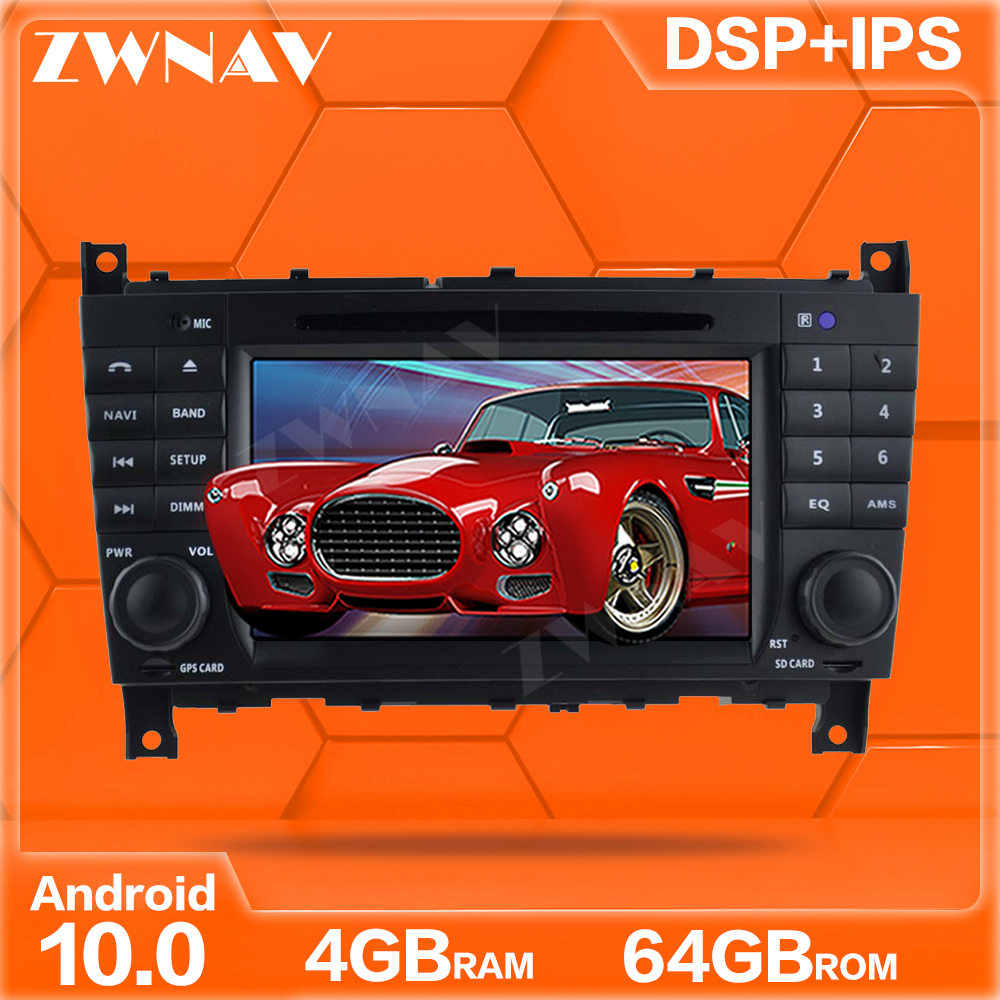 IPS Android 10.0 DVD Player GPS <font><b>Navi</b></font> For Mercedes/<font><b>Benz</b></font> <font><b>W203</b></font> W209 W219 A-Class A160 Auto <font><b>Radio</b></font> Stereo Multimedia Player Head Unit image