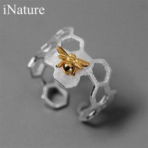 Image 1 - INATURE 925 ayar gümüş petek arı açık yüzükler kadınlar için parti takı hediye