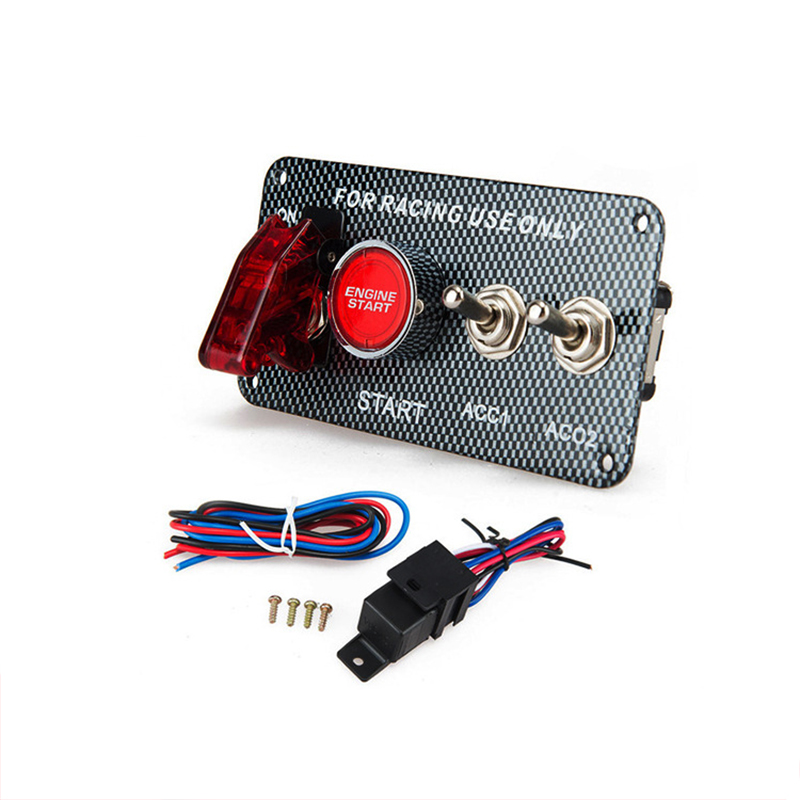 12V Racing Car Modification LED One-button Start Illuminated Ignition Switch Car Circuit Modification 5-in-1 Combination Switch