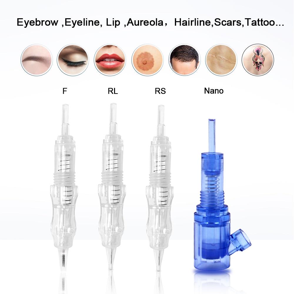 Biomaser 10pcs Tattoo Screw Cartridge Needles 1rl 3rl 3rs Sf F MG Permanent Makeup Machine Needles For Eyebrow Lip