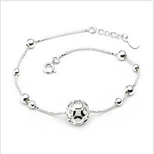 New Arrival Fashion 925 Sterling Ladies Silver Anklets Ball Manual Anklet Bracelet For Women & Girl Jewelry Foot Jewelry