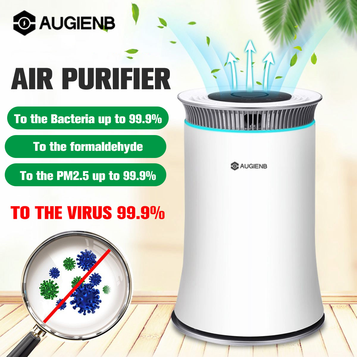 AUGIENB Air Purifier HEPA Filter Negative Ion Fresh Air Smart 8H Timer Touch Button Control For Home Office With LED Night Light
