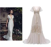 Backless Short Sleeve Lace Champagne Bohemian Wedding Dress Real