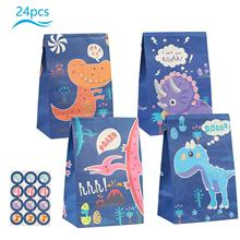 METABLE 24 Pack Candy Gift Bags Paper Bag Kids Party Supplies with Dinosaur Sticker for Dinosaur Theme Birthday Party Decor
