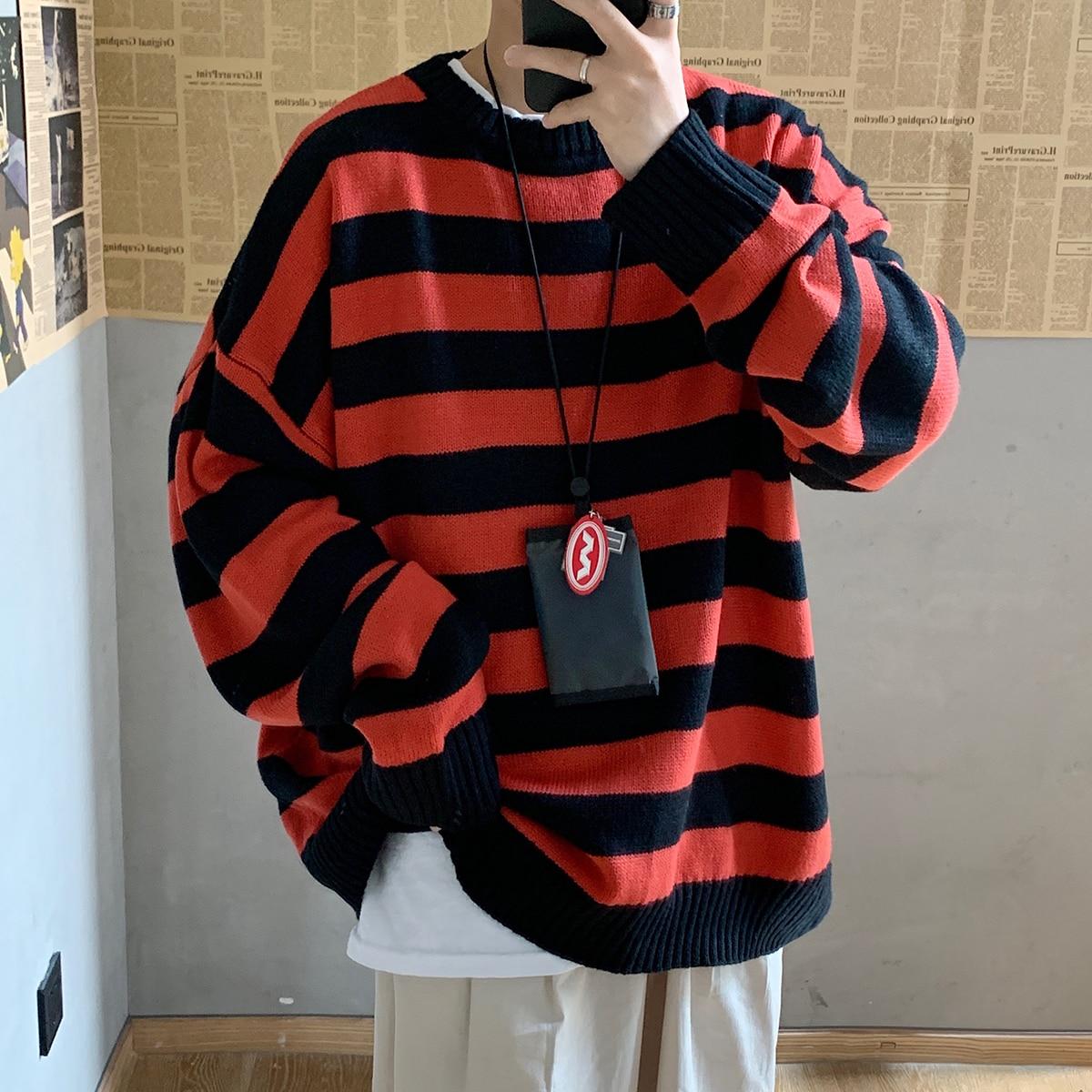 Stripe  Sweater Men 2020 Mens Brand Winter Color Block  Sweater Designed  Print Men  Print Sweater Mens Christmas Gift
