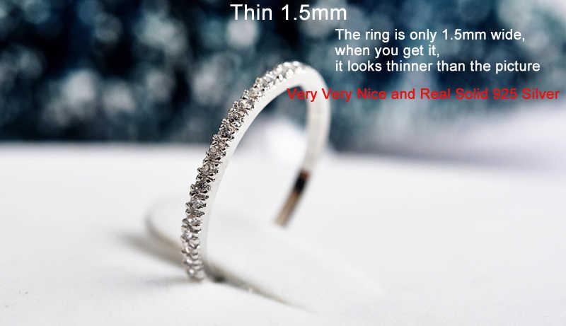 YANHUI Asli 100% 925 Perak Padat Sederhana Geometris Bulat Single Stackable Jari Cincin untuk Wanita Pernikahan Perhiasan