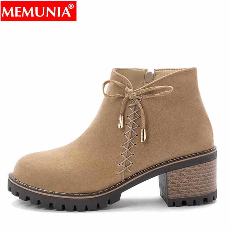 MEMUNIA Artı boyutu 34-43 Yeni yarım çizmeler kadınlar için kare yüksek topuklu sonbahar kış ayakkabı düz renk dantel up kadın ayakkabısı