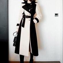 HAMALIEL корейское осенне-зимнее женское твидовое толстое теплое пальто модное шерстяное двубортное лоскутное длинное шерстяное пальто с поясом