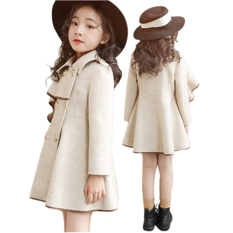 Girl Woolen Coat Jacket Spingr Autumn Elegant England Style Wool Coat For 3-12years Girls Kids Children Trench Outerwear Clothes