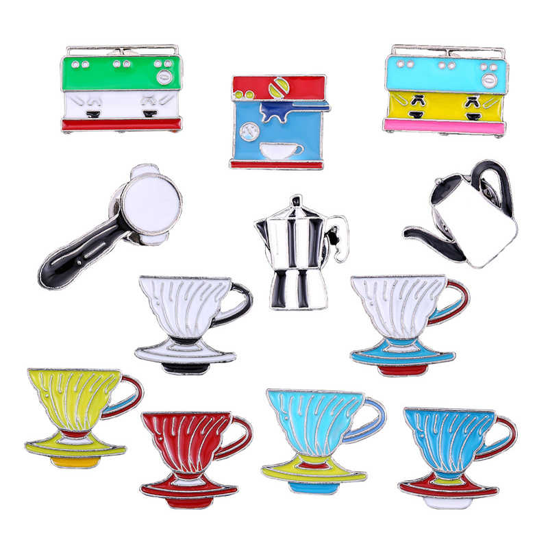 Alle Over Koffie Emaille Pin Koffieboon Pot Cup Latte Cappuccino Broches Tas Revers Pin Kleding Badge Sieraden Gift Voor barista