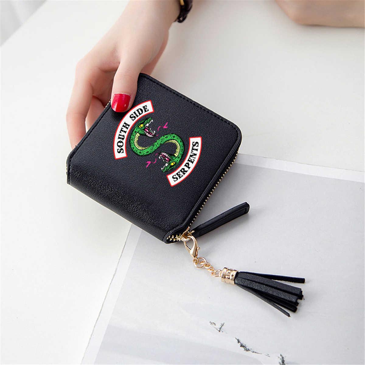 Riverdale cüzdan 3D baskı Southside yılanlar püskül cüzdan kadın fermuar kart çanta bayan cüzdan Mini çanta Cosplay TV sahne