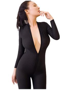 Seksowny zamek z przodu w pionowe paski elastan Zentai Catsuit body nocny kostium taneczny tanie i dobre opinie WOMEN 86600098 AUTUMN