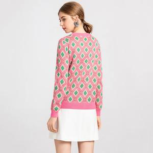 Image 3 - ヴィンテージ甘い多色糸ニットセーター女性 2020 新ファッション o ネック長袖女性プルオーバーカジュアルプルファム C 226