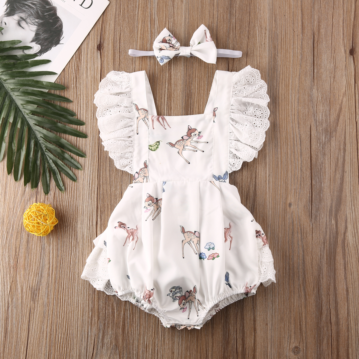 Pudcoco Newborn Baby Girl Clothes Clothes Christmas Fawn Print Lace Ruffle Sleeveless Romper Headband 2Pcs Outfits Clothes